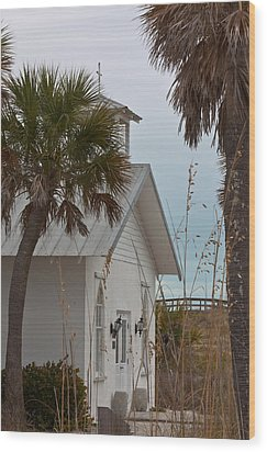 Wood Print featuring the photograph Gasparilla Island State Park Chapel by Ed Gleichman