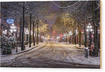 Gastown Snow Wood Print by Alexis Birkill