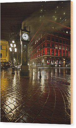 Gastown Steam Clock On A Rainy Night Vertical Wood Print by JPLDesigns