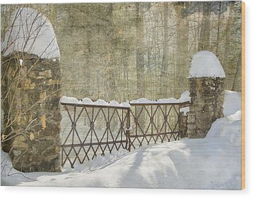 Gated In The Snow Wood Print by Betty  Pauwels