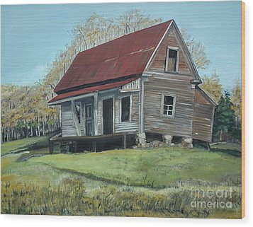 Wood Print featuring the painting Gates Chapel - Ellijay Ga - Old Homestead by Jan Dappen