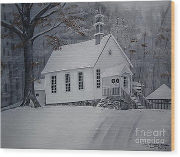Wood Print featuring the painting Gates Chapel - Ellijay - Signed By Artist by Jan Dappen