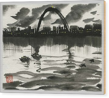 Gateway Arch Wood Print by Ping Yan