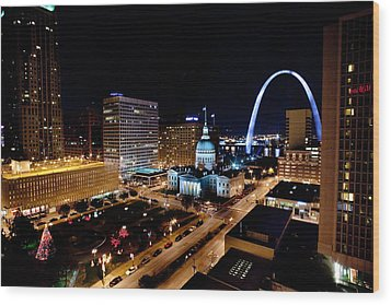 Gateway Arch St Louis Night Wood Print