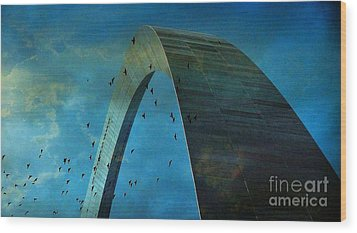 Gateway Arch With Birds Wood Print by Janette Boyd