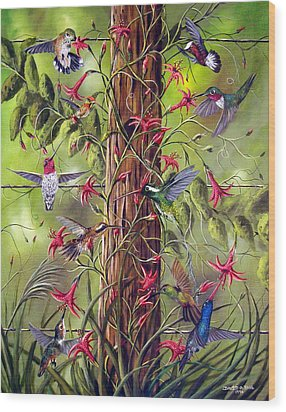 Gathering At The Fencepost Wood Print by David G Paul