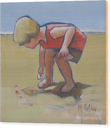 Gathering Shells Wood Print by Mary Hubley