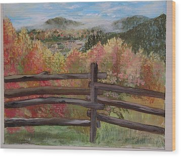 Gatlinburg Overlook Smokey Mts. Wood Print by Marty Hermes