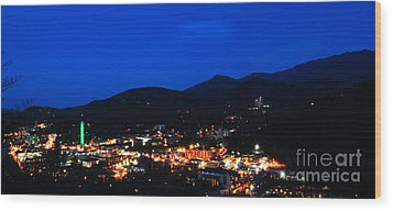 Gatlinburg Skyline At Night Wood Print by Nancy Mueller