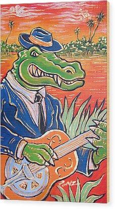 Gator Boogie Wood Print by Robert Ponzio