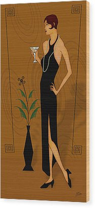 Gatsby Girl Wood Print by Troy Brown
