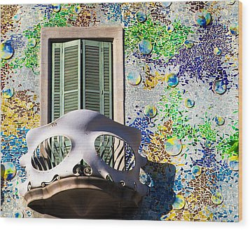 Gaudis Skull Balcony And Mosaic Walls Wood Print by Rene Triay Photography