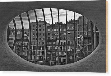 Gaudi's View Wood Print by Robert  FERD Frank
