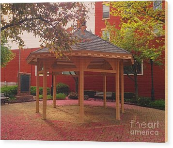 Wood Print featuring the photograph Gazebo In Pink by Becky Lupe