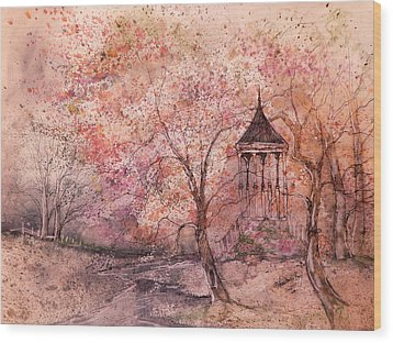 Gazebo In Red Wood Print by Anna Sandhu Ray