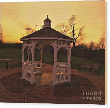 Wood Print featuring the photograph Gazebo In Sunset by Becky Lupe