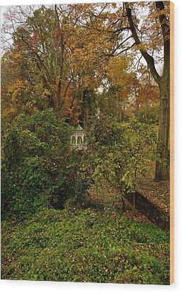 Gazebo In The Woods Wood Print