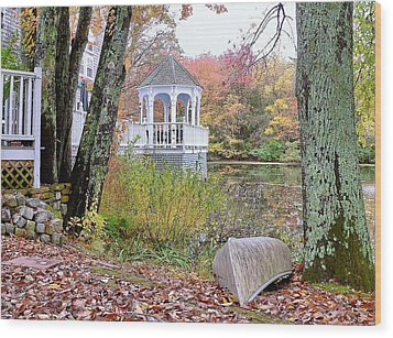 Gazebo On Pond -  Fall Scene Wood Print by Janice Drew