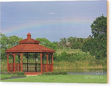 Gazebo Rainbow Wood Print