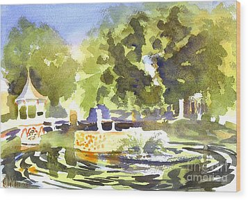 Gazebo With Pond And Fountain II Wood Print by Kip DeVore