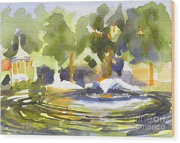 Gazebo With Pond And Fountain Wood Print by Kip DeVore
