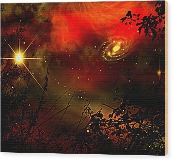 Wood Print featuring the painting Gazing The Galaxy by Persephone Artworks