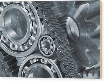 Gears And Cogs Titanium And Steel Power Wood Print