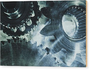 Gears And Cogwheels Wood Print