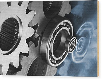 Gears And Cogwheels Reflection Wood Print
