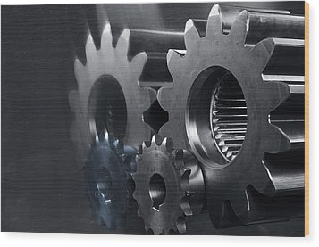 Gears And Power Wood Print