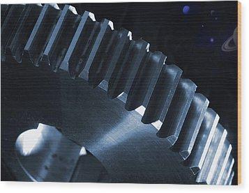 Gears Engineering In Space Wood Print by Christian Lagereek