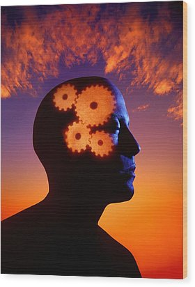 Gears Going In The Mind Wood Print by Don Hammond