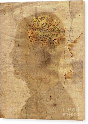 Gears In The Head Wood Print by Michal Boubin