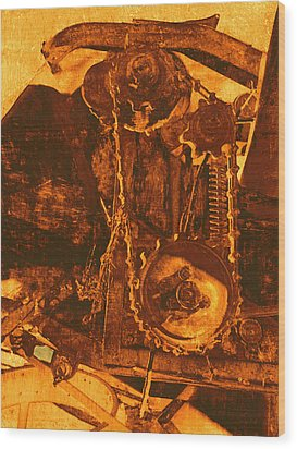 Gears In Yellow Wood Print by Ann Powell