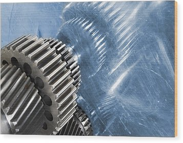 Gears Industrial Engineering In Blue Wood Print