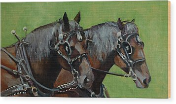 Wood Print featuring the painting Gee And Haw by Pattie Wall