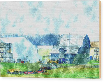 Gee Farm Orchard Barns And Outbuildings   Wood Print by Rosemarie E Seppala