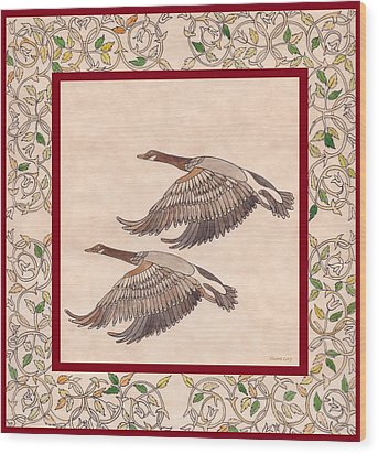 Wood Print featuring the drawing Geese by Dianne Levy