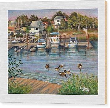 Geese In Hamilton Beach Wood Print