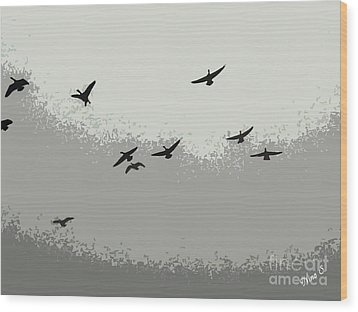 Wood Print featuring the photograph Geese In Sillouehette by Nina Silver