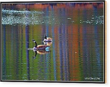 Wood Print featuring the photograph Geese On The Lake by Tara Potts