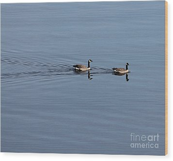 Geese Reflected Wood Print by Leone Lund