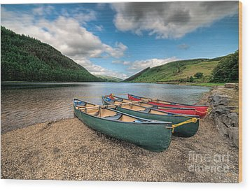 Geirionydd Lake Wood Print by Adrian Evans