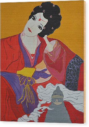 Wood Print featuring the painting Geisha 2 by Judi Goodwin