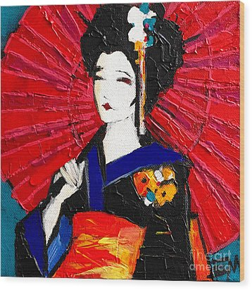 Geisha Wood Print by Mona Edulesco