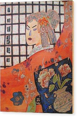 Geisha Girl Wood Print by Diane Fine