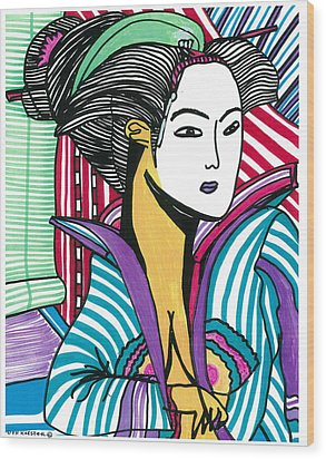 Wood Print featuring the drawing Geisha Green And Blue by Don Koester