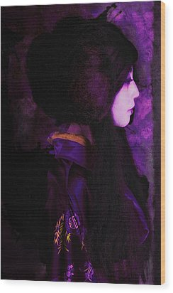 Geisha In Purple And Pink Wood Print by Jeff Burgess
