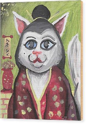Geisha Kitty Wood Print