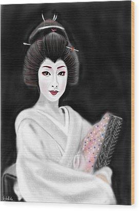 Geisha No.155 Wood Print by Yoshiyuki Uchida